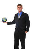 Young businessman holding the earth stock image