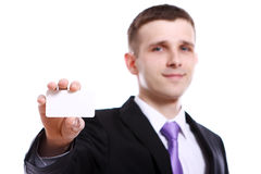 Young businessman holding empty blank Stock Photo