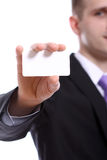 Young businessman holding empty blank Royalty Free Stock Photo