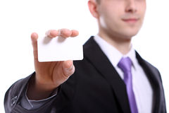 Young businessman holding empty blank Royalty Free Stock Images