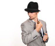 Young businessman holding a machete Stock Photography
