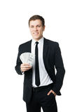 Young businessman holding money Stock Photography