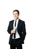 Young businessman holding money Royalty Free Stock Photos