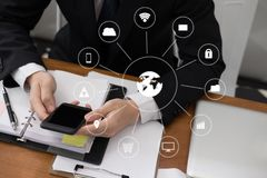 businessman holding smartphone & using app. man texting message Stock Photos