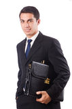 Young businessman holding suitcase isolated on Royalty Free Stock Images