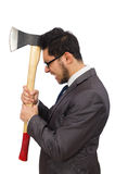Young businessman holding a tool isolated on white Stock Photo