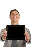 Young Businessman Holding a Touch Pad Tablet PC Royalty Free Stock Images