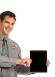 Young Businessman Holding a Touch Pad Tablet PC Stock Photo