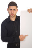 Young businessman. Holding white card royalty free stock photography