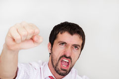 businessman holds arms up and celebrate success Stock Photos