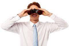 Young businessman hunting success Royalty Free Stock Photography