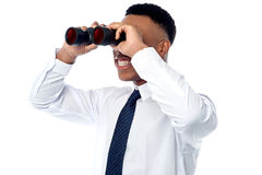 Young businessman hunting talents Stock Photos