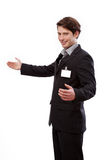 Young businessman with ID to put your text Royalty Free Stock Photography