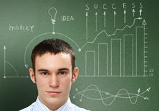 Ideas and creativity in business. Young businessman with ideas as symbol of business creativity Stock Photography