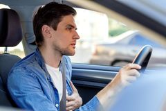 Free Young Businessman In Car Has Heart Attack Stock Photos - 161053503