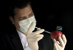Young businessman injecting chemicals into an apple with Tanzani Royalty Free Stock Images