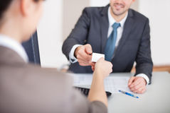 Young businessman at the interview Stock Photos