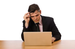 The young businessman isolated on the white Stock Images