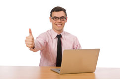 The young businessman isolated on the white Stock Photos