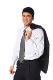 Young businessman with jacket on shoulder Stock Image