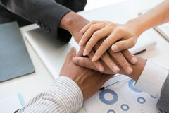 Young businessman joining hand, business team touching hands tog. Young asian businessman joining united hand, business team touching hands together after Stock Photos