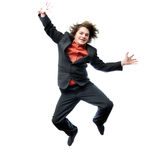 Young Businessman jumping for joy Royalty Free Stock Photos