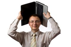 Young businessman with laptop Stock Photos