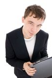 The young businessman with the laptop isolated Stock Photo