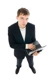 The young businessman with the laptop isolated Stock Photos