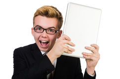 Young businessman with laptop isolated on white Stock Photos