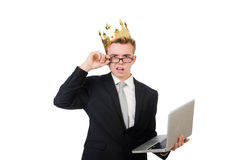 Young businessman with laptop isolated on white Royalty Free Stock Images