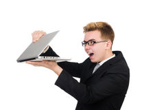 Young businessman with laptop isolated on white Royalty Free Stock Image