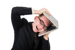 Young businessman with laptop isolated on white Stock Photography