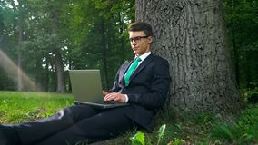 Young businessman with laptop sitting under tree, working remotely in park. Stock photo stock photo