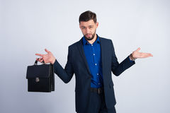 Young businessman with a leather briefcase Stock Photo