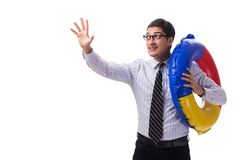 The young businessman with life buoy isolated on white background. Young businessman with life buoy isolated on white background Royalty Free Stock Images