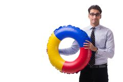 The young businessman with life buoy isolated on white background. Young businessman with life buoy isolated on white background Royalty Free Stock Photography