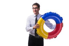 The young businessman with life buoy isolated on white background. Young businessman with life buoy isolated on white background Stock Photography