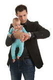 Young businessman with a little girl Royalty Free Stock Photo
