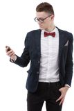Young businessman looking at cell phone Stock Photos