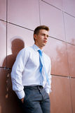 Young Businessman Looking into the Distance Stock Images