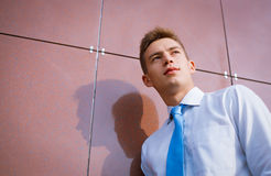 Young Businessman Looking into the Distance Royalty Free Stock Image