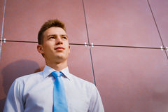 Young Businessman Looking into the Distance Royalty Free Stock Photo