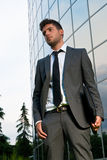 Young businessman looking future modern building Royalty Free Stock Images