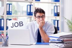 The young businessman looking for job in unemployment concept Stock Photos