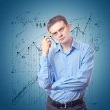 Young Businessman Lost In Thoughts Stock Photography