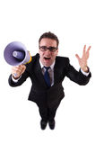 Young businessman with loudspeaker. On white Stock Image