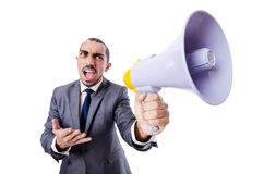 Young businessman with loudspeaker Royalty Free Stock Photos