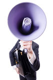 Young businessman with loudspeaker Royalty Free Stock Images