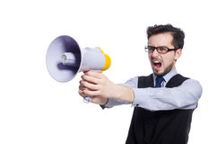 Young businessman with loudspeaker Stock Photos